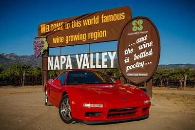 NSX in front of the welcome to Napa Valley sign
