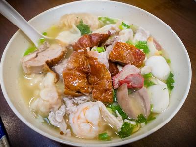 Roasted duck, bbq pork, shrimp, wontons, fish cakes, noodles