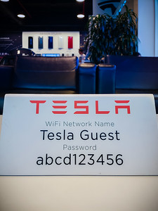 ...and use Tesla's wifi (for some reason, I find their password funny), but Valerie and I are hungry