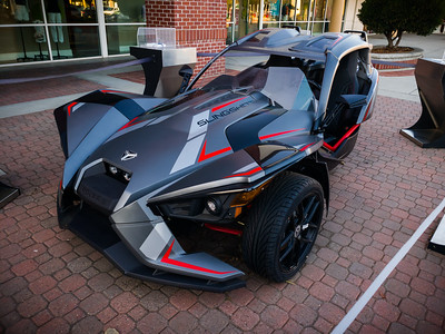 While Valerie shops, I check out a vehicle I could win...a Polaris Slingshot