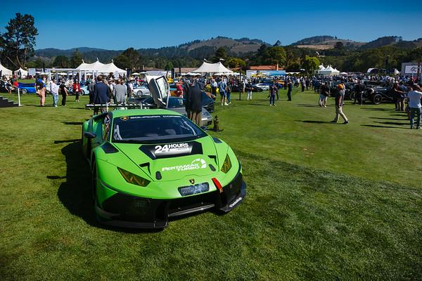 I step on to the grass by a Lamborghini Huracán GT3 EVO