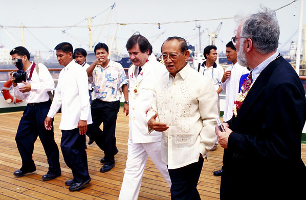 President of the Philippines on the ship.<br /> Photographs by  photo instructor Cliff Grassmick of the Spring 1997 Semester at Sea  voyage around the world.