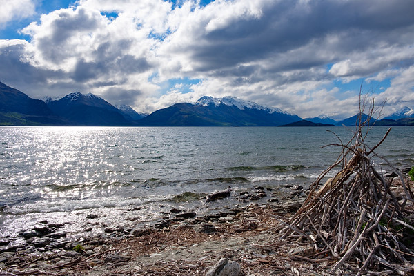 View from the shoreline of Lake Wakatipu, South Island, New Zealand