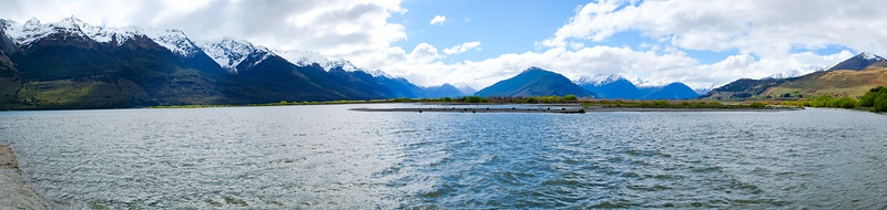 Panoramic view over Lake Wakatipu, from Glenorchy, South Island, New Zealand