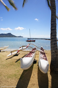 Waikiki Beach with Diamond Head Peak in the background