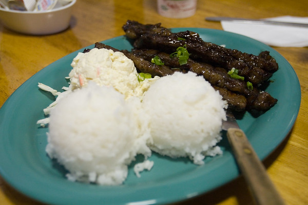 Valerie opts for a local lunch...Kalbi beef ribs, rice, and macoroni salad