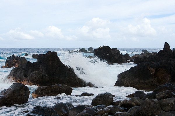"""This """"lava leaf"""" peninsula has a rocky shoreline that greets the violent sea"""