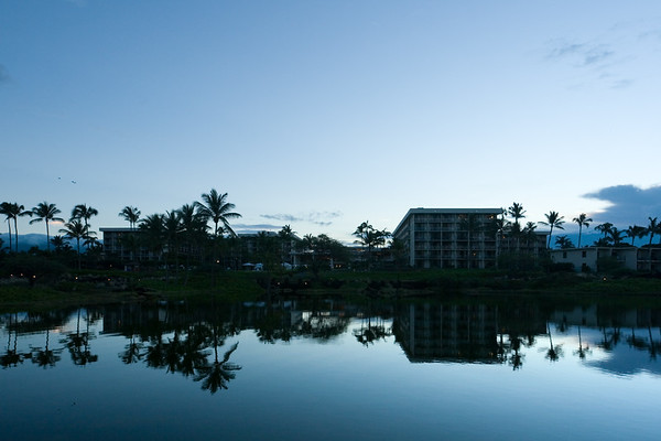 DAY 3 - I finally wake up before sunrise, but now must look for a prime location to capture the moment.  Fortunately there are numerous ponds between the Marriott and the beach, so I do not have to travel far