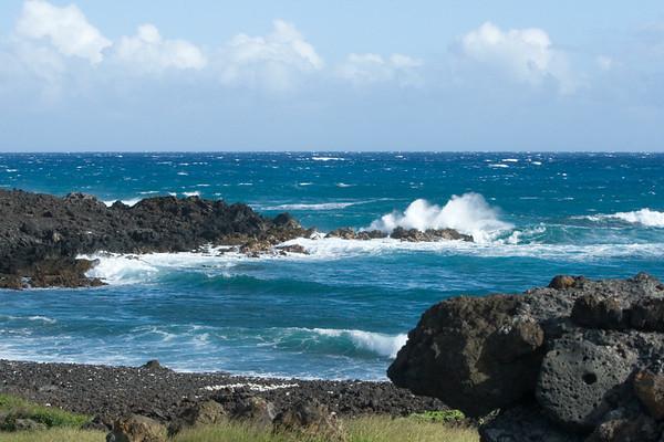 The wind churned sea...