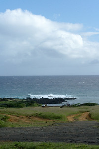 Unfortunately, we do not know exactly where Ka Lae is...nor do we know how far we must hike to reach the mysterious green sand beach.  The paved road ends, a few dirt trails branch in multiple directions, and there is no signage denoting where we are or where we are supposed to go