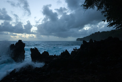 I drive us back to Laupahoehoe Beach Park figuring it is the closest point on the island where we would see the sun come up over the Pacific Ocean...
