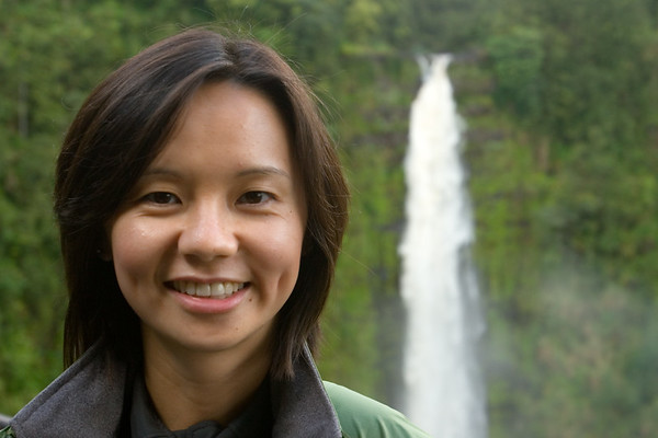 With the clouds helping lower the contrast, today I can get a shot of Valerie standing in front of the waterfall