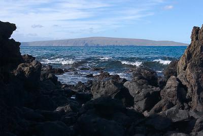 Kahoolawe as seen between the rocks of Ahihi Bay