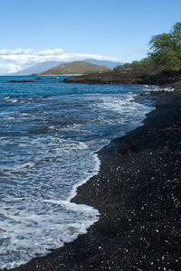 A black sand beach on Maui