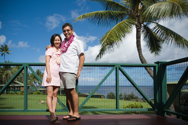 We get lei'd and upgraded to an ocean view room with spa as we check-in at the Hotel Hana-Maui