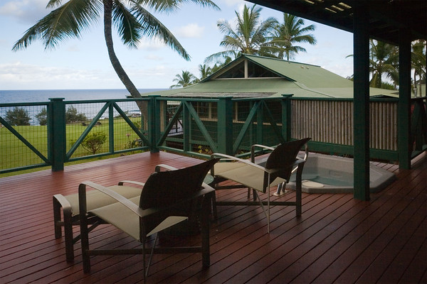 Our large lanai has a sitting area to enjoy the view as well
