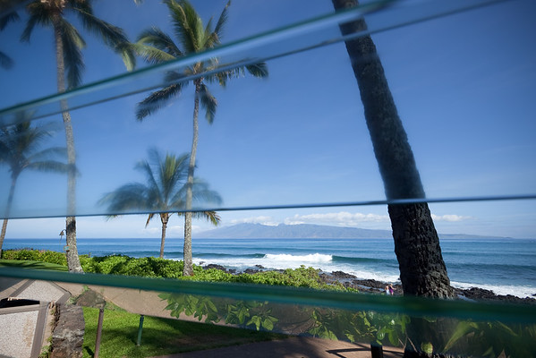 I have a table next to a window today with a clear view of Molokai (no more vog)