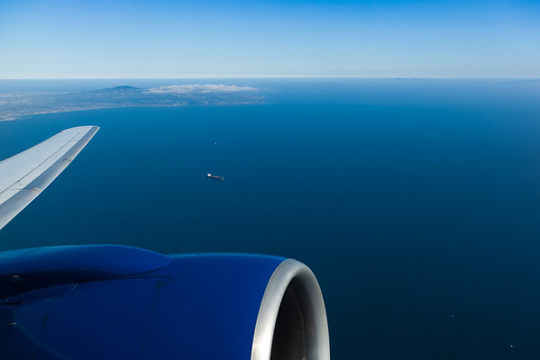 Last glimpse of the Palos Verdes Peninsula as our 757 takes off over the Pacific