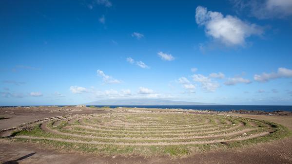 The Kapalua Labyrinth with Molokai on the horizon