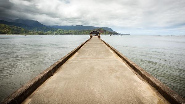 Wide angle shot of Hanalei Pier