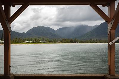 Waioli Falls on Mt Namolokama, Kauai's longest waterfall,framed by Hanalei Pier...too bad the peak is in the clouds