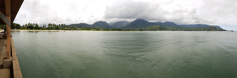 Panorama of Hanalei Bay from the end of Hanalei Pier