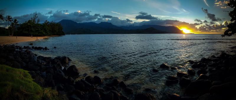 Hanalei Bay / Puu Poa Beach Sunset Panorama #2