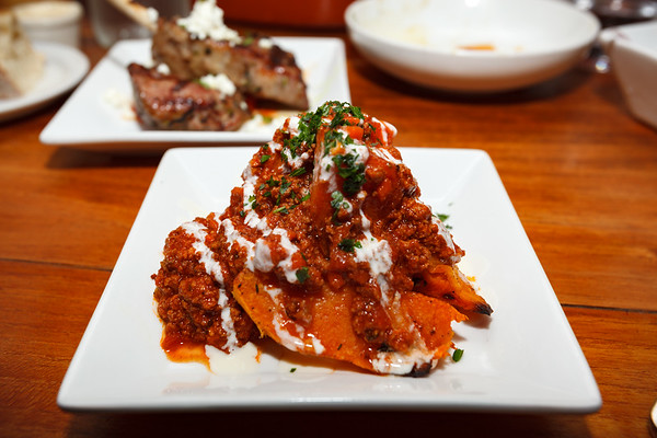 Roasted Butternut Squash with a super spicy bolognese sauce and Crème fraîche.  This may not be the most photogenic item of our meal, but it is among our favorites