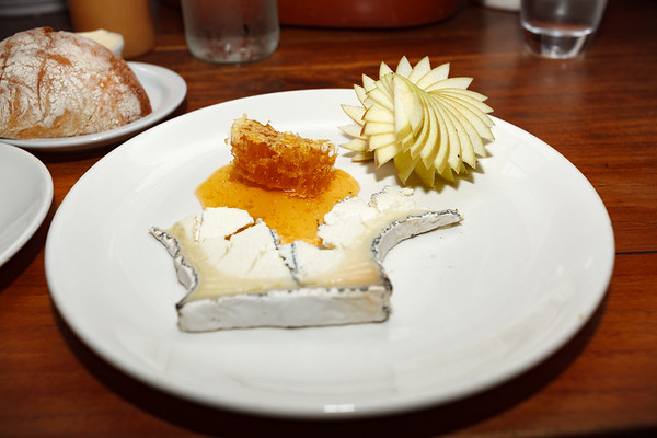 Our first plate is Goat Cheese topped with Honeycomb, and an artfully sliced Apple.  Valerie and I are blown away by the depth of flavor in this seemingly simple combination of ingredients.  GET THIS!