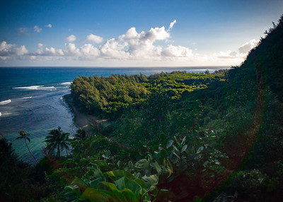 Starting early means we start in the shade.  This view is looking back towards where we started (Ke'e Beach)