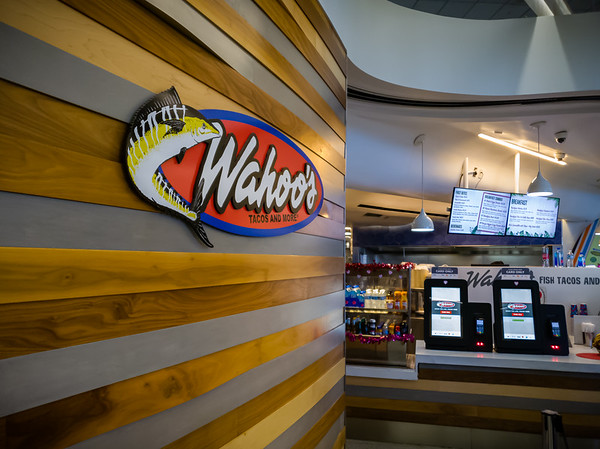 Since our flight is over an hour from now, Valerie decides we should grab breakfast from Wahoo's