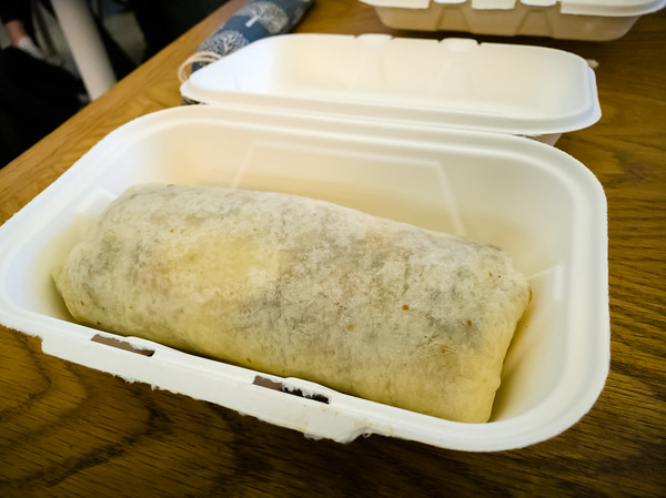 I have ordered the Huevos Rancheros Burrito.  This is my first time eating a breakfast burrito.  The chain is better known for their fish tacos, but I've always liked their Banzai Burritos.  This is essentially a Banzai Burrito with eggs and sour cream instead of one of their usual protein offerings.