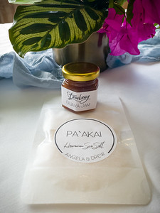 An appropriate wedding favor...strawberry guava jam and sea salt from Drew's family's farm