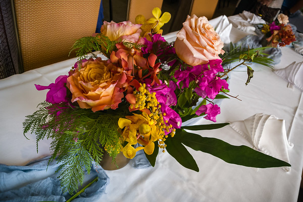Centerpieces on the tables have an appropriately Hawaiian spin on them