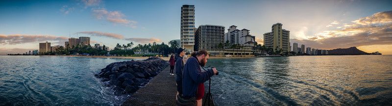 Sunrise smartphone panorama of Waikiki from the breakwater behind Fort Derussy