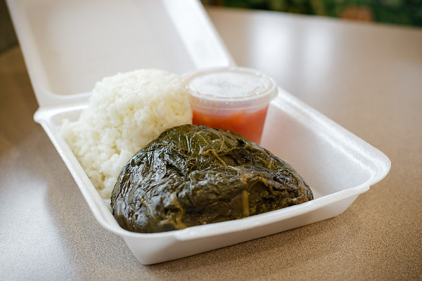 I order Lau Lau Pork which comes with a side of Lomi-Lomi Salmon