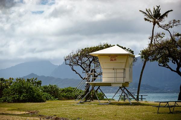 Lifeguard tower at Kualoa Regional Park