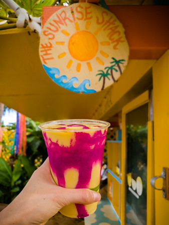 Of course Valerie orders a fruit beverage.  Their Tropical Smoothie contains a blend of Mango, Banana, Pineapple, Coconut Cream, Honey, and Salt...topped with Pitaya (a.k.a. Dragon Fruit) Sauce and Honey.