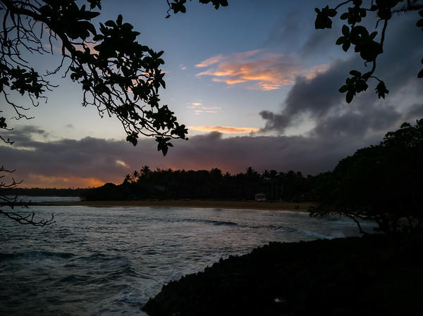 Hmmm...it looks like the sun may be coming up from behind the trees on the east side of Kuilima Cove.  Turtle Bay Resort is not quite located on the northern tip of Oahu, so there's really no location on the property that will have an unobstructed view of sunrise.