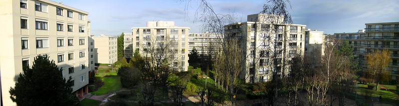 DAY 1 - On my second morning in Rueil-Malmaison, France, I take a panoramic photo from Didi's bedroom (01-11)