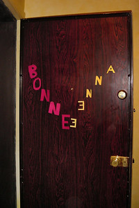 DAY 10 - As we leave the apartment on New Year's Day, we notice that someone has made a new sign for the front door