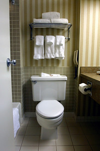 The hotel's bathrooms were far from the lavish marble covered rooms we've grown accustomed to.