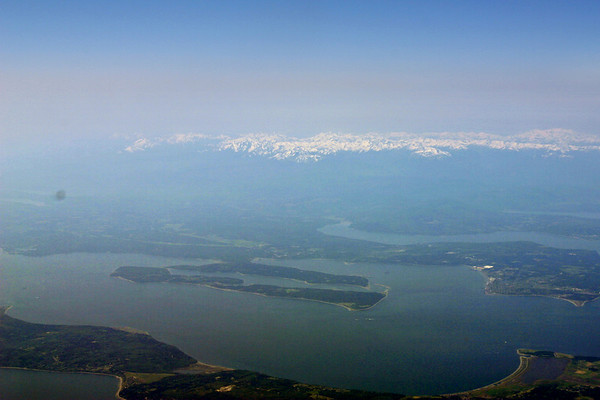 Soaring over Washington State looking towards the Olympic Mountains