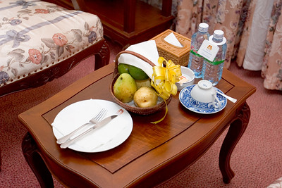 We find an amenity in our room - fruit and bottled water
