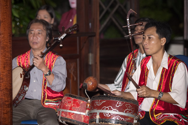 Exotic music performed live accompanies the performances