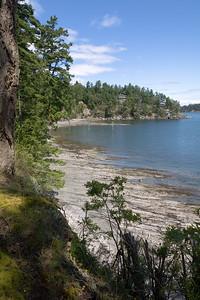 The rocky shoreline appears raked