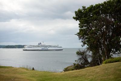 A ferry sails through Active Pass bound for Tsawwassen