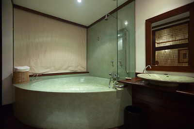The bathtub / shower occupies a space larger than some bathrooms, but that glass divider seems a bit too small to be functional