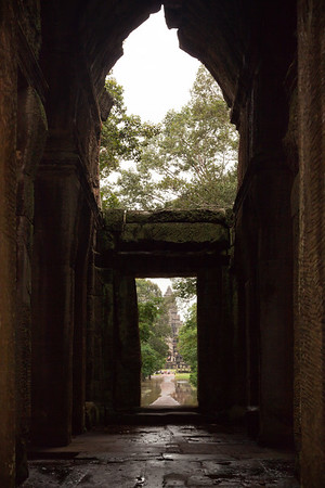 Angkor Wat's central tower framed by the gate's interior