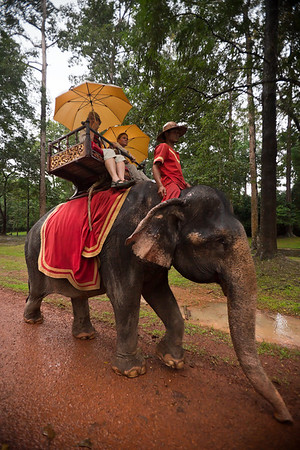 DAY 10 (continued) - After driving through Angkor Thom's south gate, we pass an elephant transporting tourists